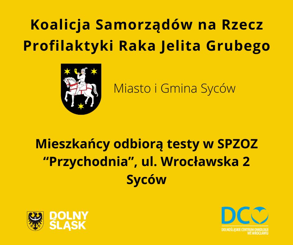Plakat koalicji samorządowej na rzecz profilaktyki raka jelita grubego